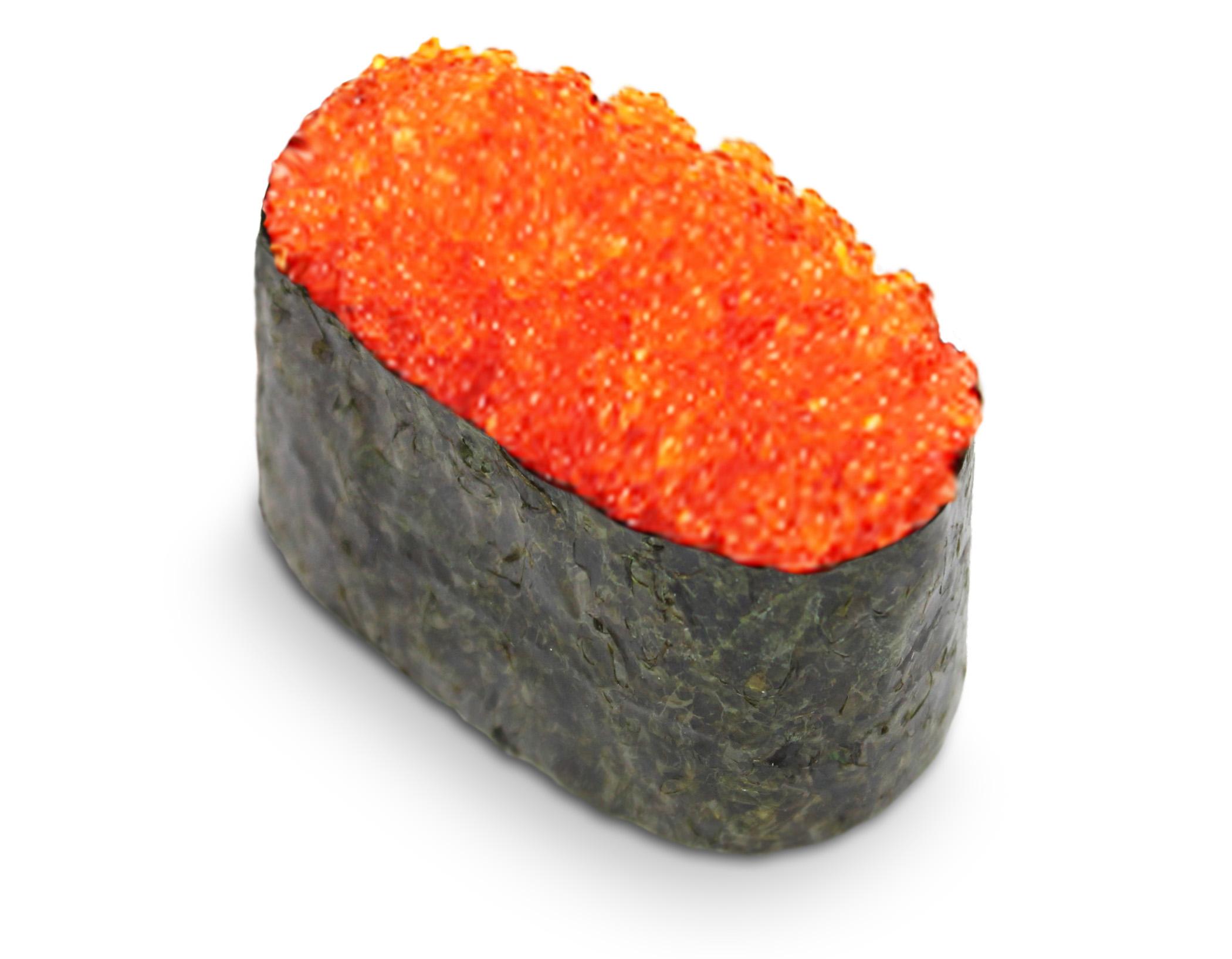 Суши с оранжевой икрой Тобико